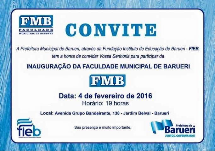 Inauguração da Faculdade Municipal de Barueri (FMB)