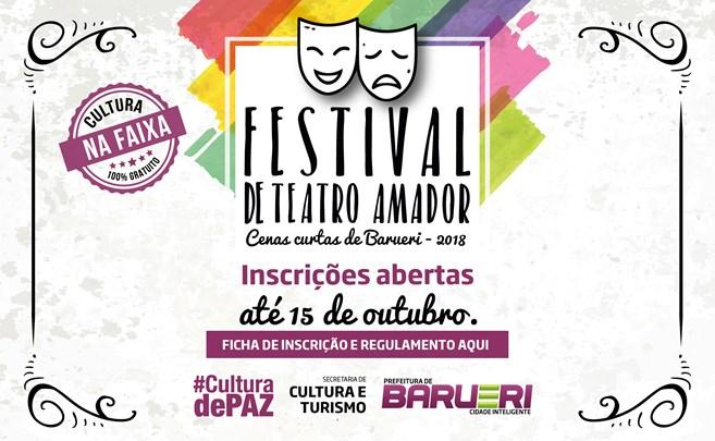 1º Festival de Teatro Amador e Cenas Curtas de Barueri  (Inscrições Abertas)